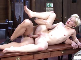 Blonde bungler undressed and fucked on the dining-room table